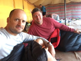 Steve and author bedding down